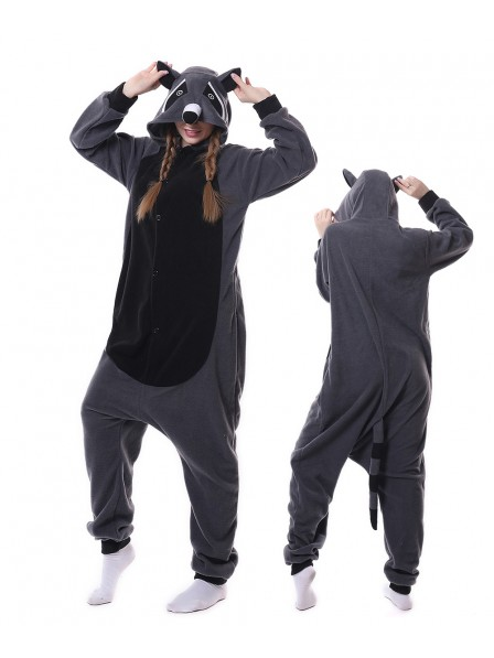 Grey Panda Raccoon Kigurumi Onesie Pajamas Animal Unisex Costumes