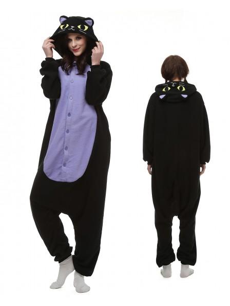 Midnight Cat Kigurumi Onesie Pajamas Polar Fleece Animal Unisex Costumes