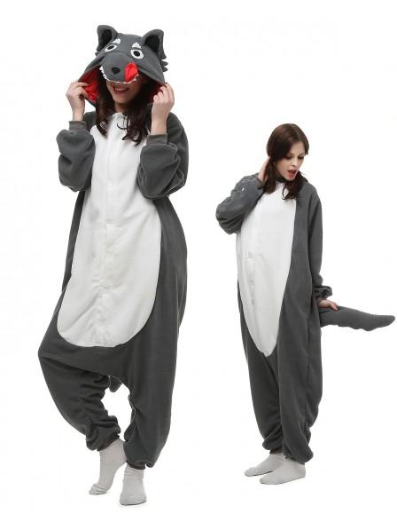 Grey Wolf Kigurumi Onesie Pajamas Polar Fleece Animal Unisex Costumes