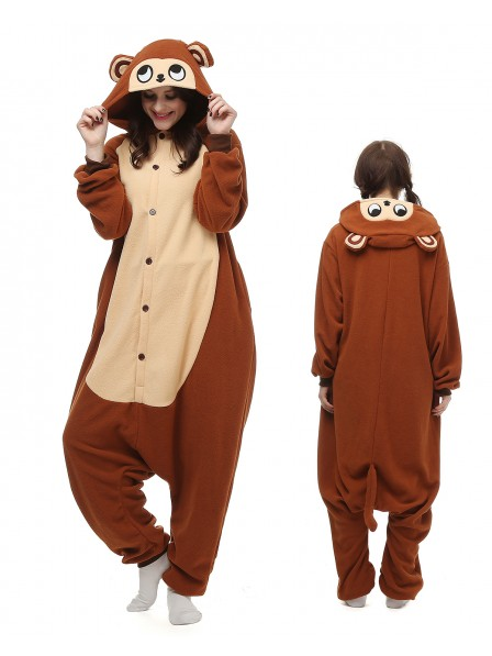 cc37d19e56d3 Monkey Kigurumi Onesie Pajamas Polar Fleece Animal Unisex Costumes ...