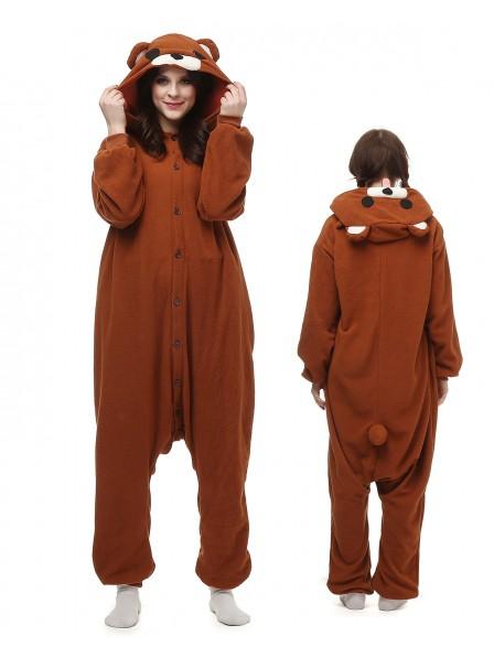 Brown Bear Kigurumi Onesie Pajamas Polar Fleece Animal Unisex Costumes 038dcca09f63