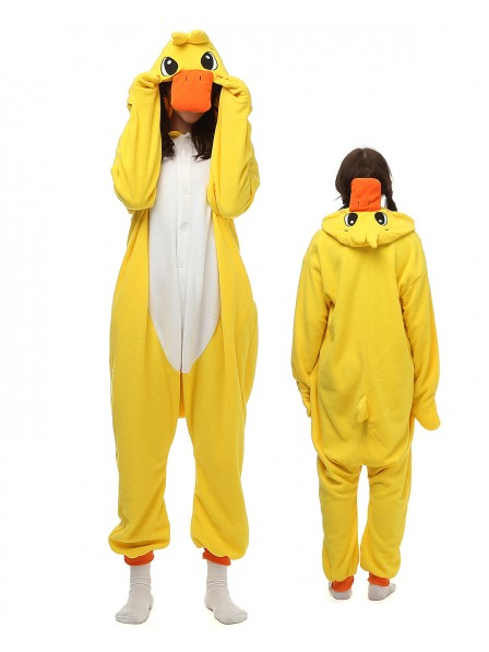 Yellow Duck Kigurumi Onesie Pajamas Polar Fleece Animal Unisex Costumes