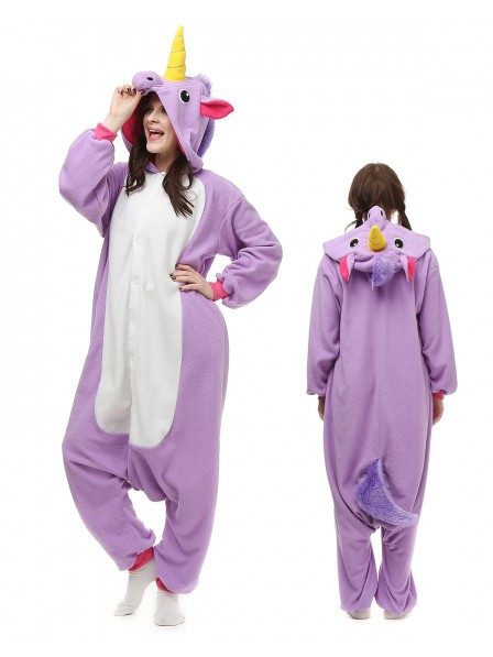 Purple Unicorn Kigurumi Onesie Pajamas Polar Fleece Animal Unisex Costumes
