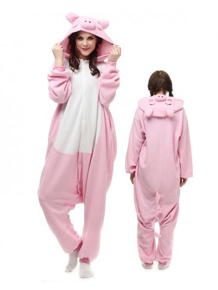 Pink Pig Kigurumi Onesie Pajamas Polar Fleece Animal Unisex Costumes