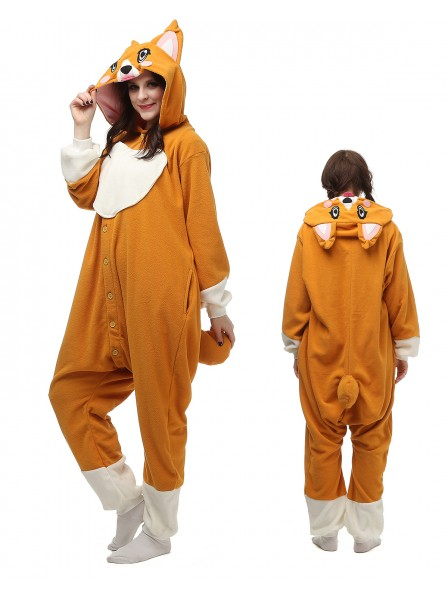 Corgi Dog Kigurumi Onesie Pajamas Polar Fleece Animal Unisex Costumes