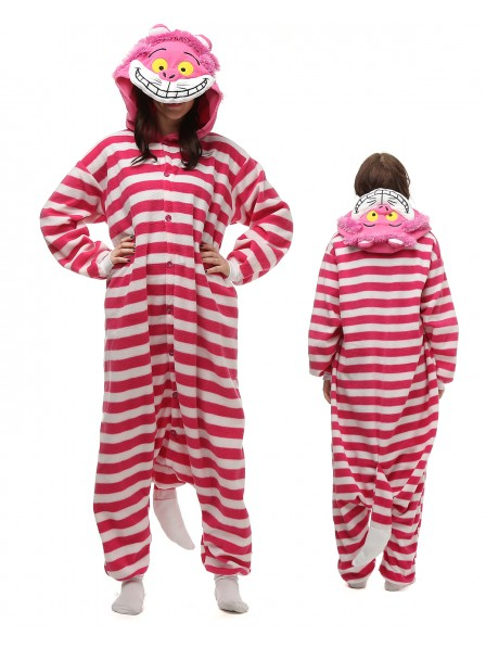 Cheshire Cat Kigurumi Onesie Pajamas Polar Fleece Animal Unisex Costumes