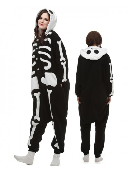 4611518de0ff Skeleton Kigurumi Onesie Pajamas Polar Fleece Animal Unisex Costumes ...