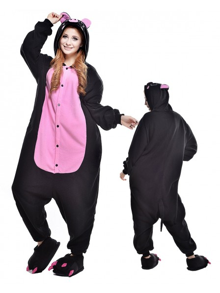 Black Pig Kigurumi Onesie Pajamas Polar Fleece Animal Unisex Costumes