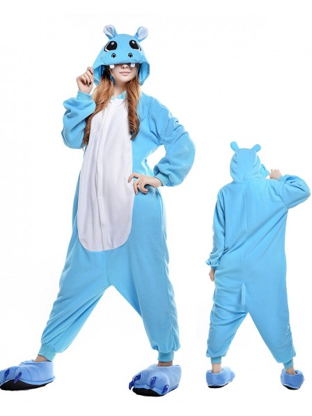 Blue Hippo Kigurumi Onesie Pajamas Polar Fleece Animal Unisex Costumes