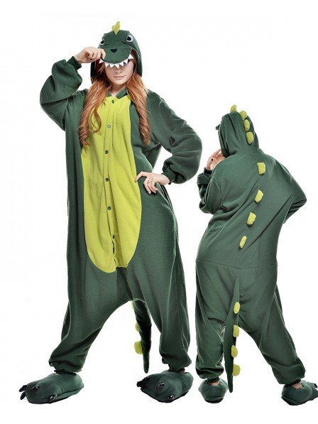 Green Dinosaur Kigurumi Onesie Pajamas Polar Fleece Animal Unisex Costumes