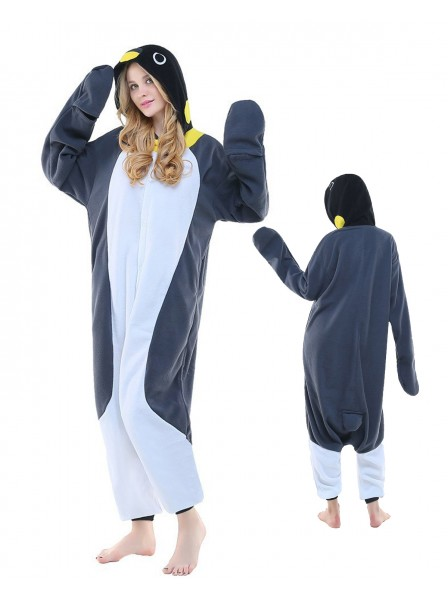 Grey Penguin Kigurumi Onesie Pajamas Polar Fleece Animal Unisex Costumes