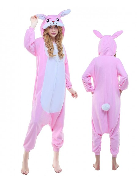 Pink Bunny Rabbit Kigurumi Onesie Pajamas Polar Fleece Animal Unisex Costumes