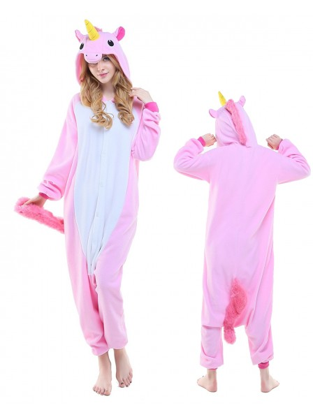 New Pink Unicorn Kigurumi Onesie Pajamas Polar Fleece Animal Unisex Costumes