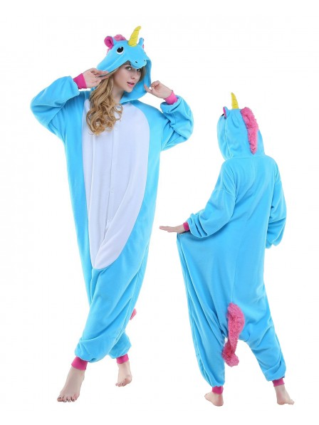 New Blue Kigurumi Onesie Pajamas Polar Fleece Animal Unisex Costumes