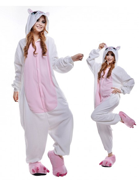 White Cat Kigurumi Onesie Pajamas Polar Fleece Animal Unisex Costumes