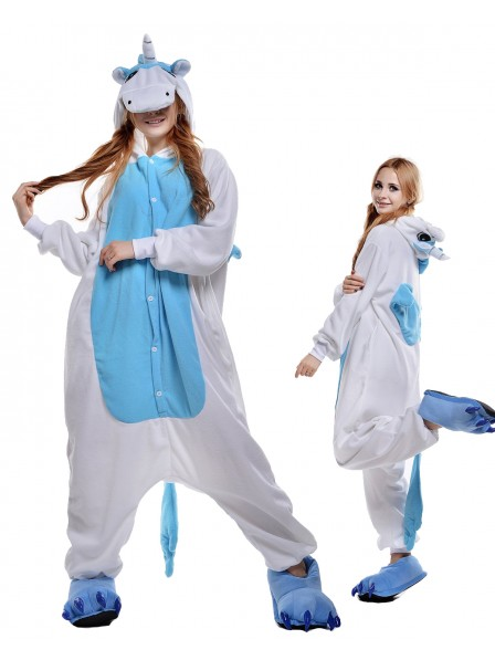 Blue Unicorn Kigurumi Onesie Pajamas Polar Fleece Animal Unisex Costumes