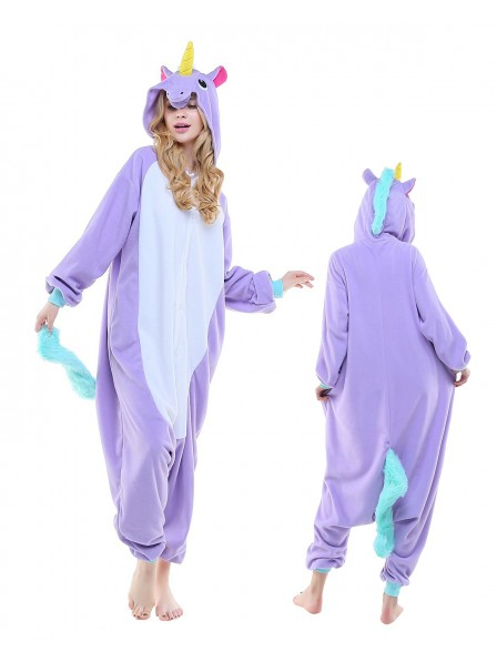New Purple Unicorn Kigurumi Onesie Pajamas Polar Fleece Animal Unisex Costumes