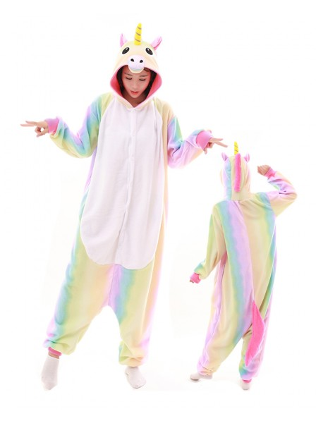Pastel Hologram Rainbow Unicorn Kigurumi Onesie Pajamas Polar Fleece Animal Unisex Costumes