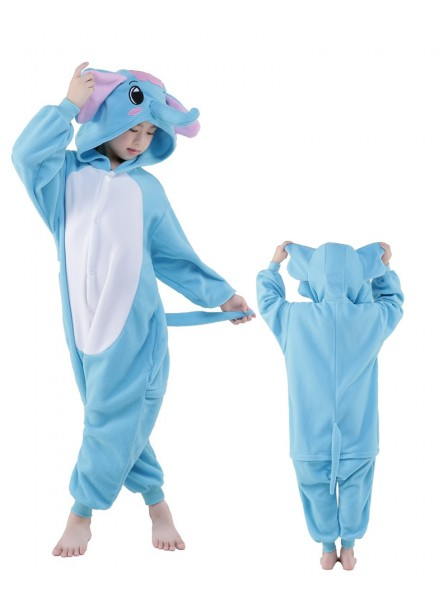 Blue Elephant Onesie Kids Kigurumi Polar Fleece Animal Costumes For Teens