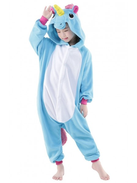 Blue Unicorn Onesie Kids Kigurumi Polar Fleece Animal Costumes For Teens