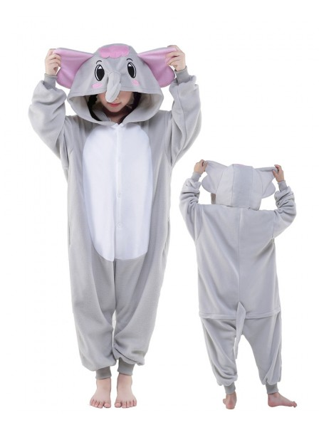 Grey Elephant Onesie Kids Kigurumi Polar Fleece Animal Costumes For Teens