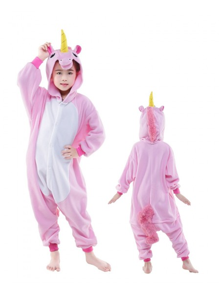 Pink Unicorn Onesie Kids Kigurumi Polar Fleece Animal Costumes For Teens