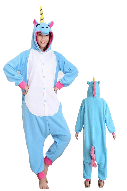 2ef2b0464c63 Blue Unicorn Kigurumi Onesie Pajamas Soft Flannel Unisex Animal Costumes Sc  1 St Onesieshow.com