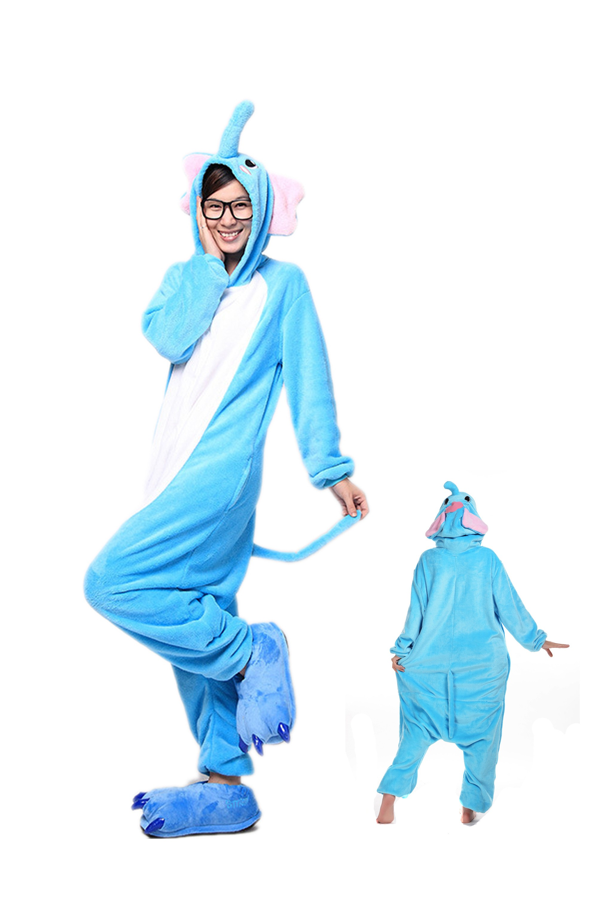 Blue Elephant Kigurumi Onesie Pajamas Soft Flannel Unisex Animal Costumes  sc 1 st  Onesieshow.com : blue elephant costume  - Germanpascual.Com