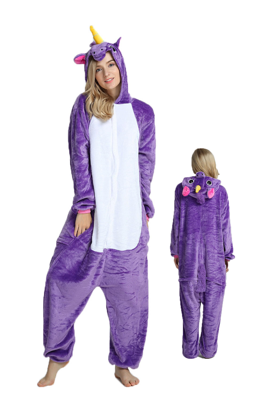 Purple Unicorn Kigurumi Onesie Pajamas Soft Flannel Unisex Animal Costumes  sc 1 st  Onesieshow.com & Purple Unicorn Kigurumi Onesie Pajamas Soft Flannel Unisex Animal ...