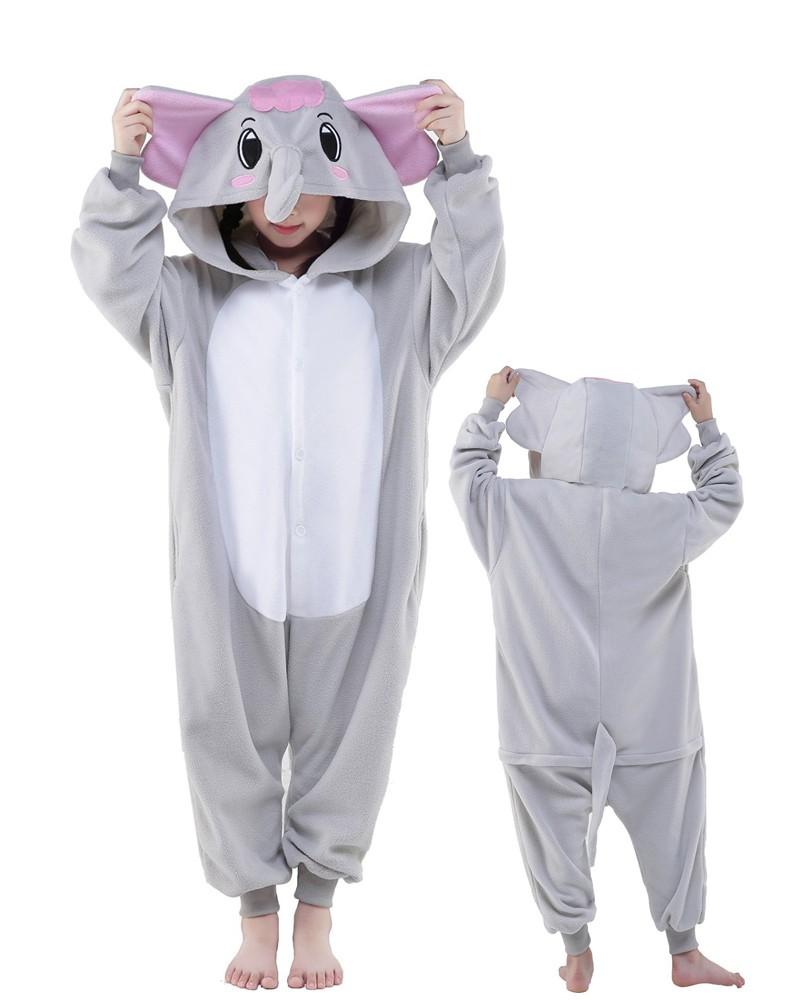 Grey Elephant Onesie Kids Kigurumi Polar Fleece Animal Costumes For Teens 95257954a