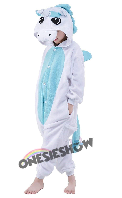 Blue Unicorn Onesie Kids Kigurumi Polar Fleece Animal ...