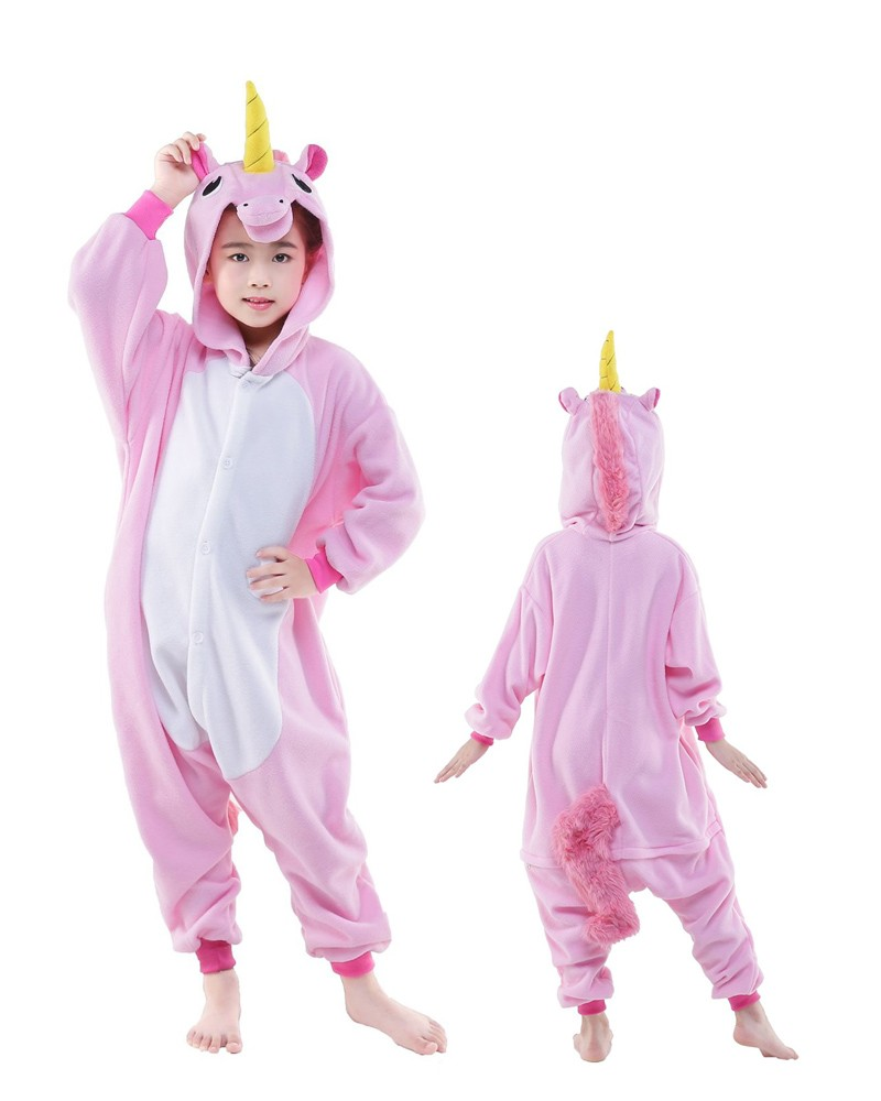 pink unicorn onesie kids kigurumi polar fleece animal