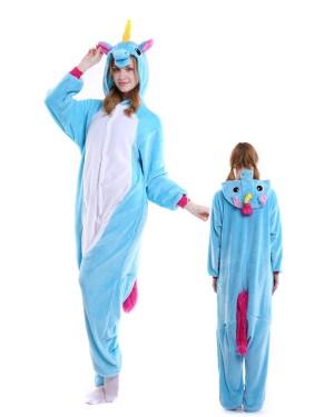 05738953c6f4 Blue Unicorn Kigurumi Onesie Pajamas Soft Flannel Unisex Animal Costumes ...