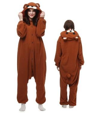 a2dad59bc833 Brown Bear Kigurumi Onesie Pajamas Polar Fleece Animal Unisex Costumes ...